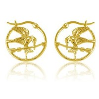 Sterling Silver Movie Inspired Gold-Plated MockingBird Hoop Earrings