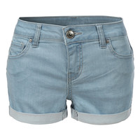 LE3NO Womens Stretchy Push Up Denim Jean Shorts with Pockets (CLEARANCE)