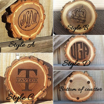 Father's Day gift, Coaster set,  monogrammed coaster,  rustic wood coaster, personalized coaster, custom gift, personalized gift,  rustic