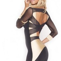Quontum Mesh 3/4 Sleeve Strap Back Dress with Gold Inset