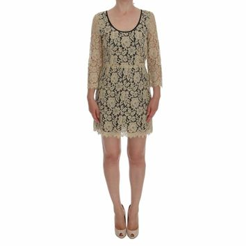 Dolce & Gabbana Beige Floral Lace Short Mini Shift Dress