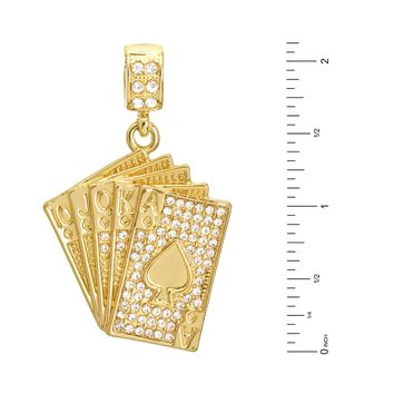 "Jewelry Kay style Men's Iced Out CZ Poker Casino Cards Pendant 24"" Rope Chain Necklace Set HC 1173"