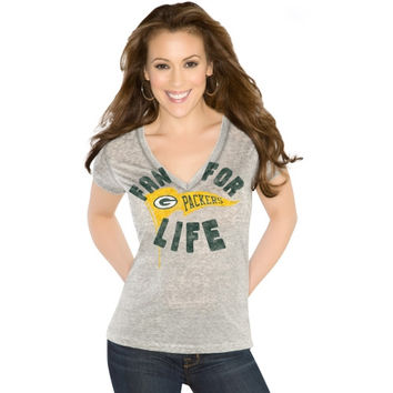 Touch By Alyssa Milano Green Bay Packers Ladies Inbounds V-Neck T-Shirt - Ash