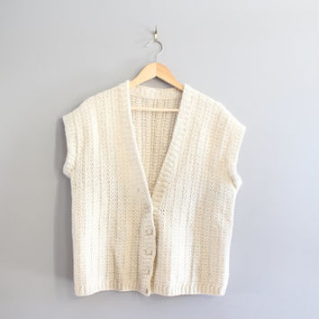 Hand Knitted Oversize Wool Vest Ivory Cream Fishermen Cable Knit Minimalist Pure Wool Size OS