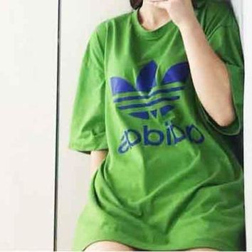 Gotopfashion ADIDAS Green With Blue Logo Tee Shirt Round Loose Design Tan Top B-MG-FSSH Green
