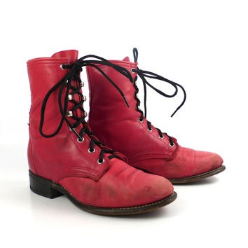 Roper Boots Vintage 1980s Red Leather Granny Lace up Packer Laredo Women's size 6 1/2
