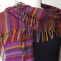 "V. Fraas Germany Scarf,Purples Striped Scarf with Side Fringe,Soft Woven Muffler,65"" x 9"" Long Tassel Scarf,Vintage Warm Winter Scarf"