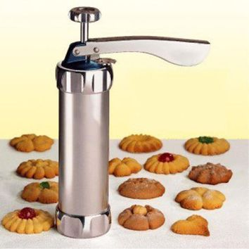 Cookie Press Machine Biscuit Maker Cake Making Decorating Gun Kitchen Aluminum  Icing Sets