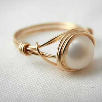 Gold Pearl Ring, White Freshwater Pearl, Bridesmaid Jewelry, Wedding Jewelry, 14kt Gold-Filled Ring