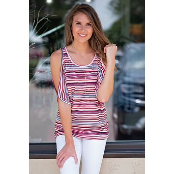 Not So Basic Stripe Printed Top : Rainbow