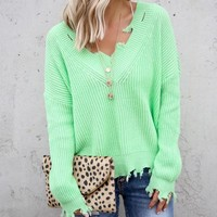 V Neck Cut Out Neon Green Sweater