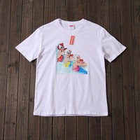 Couple Short Sleeve Cotton Round-neck T-shirts [1276629155876]