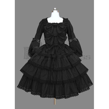 High Quality Long Sleeves Square Collar Mulit-Layer Ruffles Cotton Black Gothic Lolita Dress [TQL120504013] - £48.59 : Zentai, Sexy Lingerie, Zentai Suit, Chemise