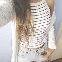 SOLID COLOR SEXY STRIPED VEST