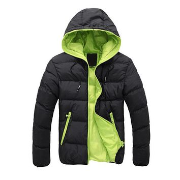 2019 Winter Thick Cotton Warm Outwear Parka Winter Jacket Men Hooded Collar Coat Mens Warm Down Casual Coats with Zipper Pocket