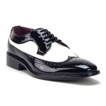 Men's Patent Leather Spectator Formal Wing Tip Lace Up Oxford Dress Shoes