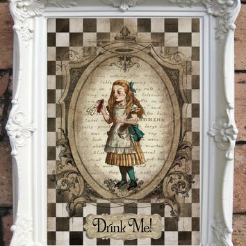 ALICE in Wonderland Quote Art Print on Handmade Paper. Shabby Chic Decor. Vintage Style Alice Wall Art. Altered Book Illustration. Code:A015