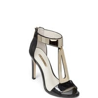 Cypria High-Heel Plated Detail T-Strap Sandal in Black - BCBGeneration