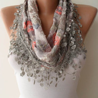 Light Grey Scarf with Same Color Trim Edge - Flowered Fabric