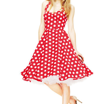 Stay fresh and girly with the Spring Potion Mariam 50's Pinup Dress by Hell Bunny. This sleeveless dress features large scale white polka dot print throughout against with red background, sweetheart neckline with seams over bust for shaping, adjustable thi