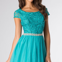 Short Lace Embellished Short Sleeve Dress