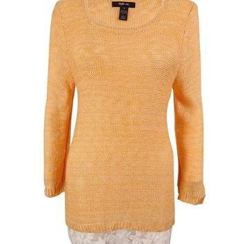 Style & Co. Women's Lace Hem Marled Sweater