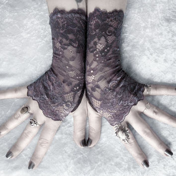 Inessa Lace Fingerless Gloves - Dark Charcoal Grey Floral - Gothic Vampire Regency Tribal Goth Austen Bridal Fetish Bridesmaid Purple Plum
