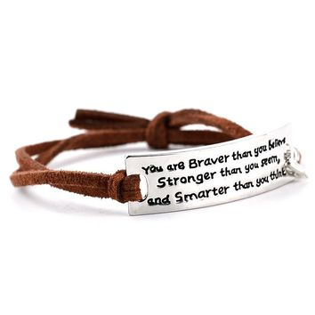 """""""You Are Braver"""" Hand Stamped Leather Bracelet"""