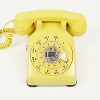 Vintage Bright Yellow Rotary Phone