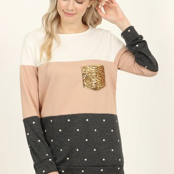 Sequin Pocket Polka Dot Contrast Pullover