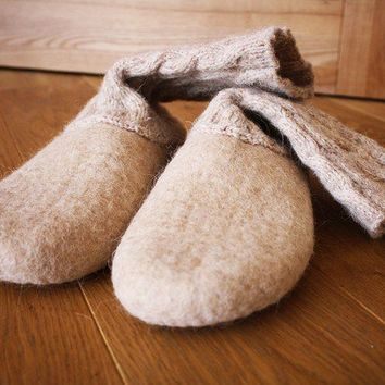 Candy milk / ECO friendly felted slippers shoes by onstail