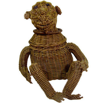 Wicker Monkey Handbag, Highly Collectible, Rare, Vintage 1950s, #vintage