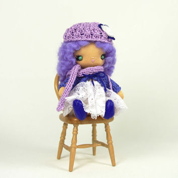 Cloth doll miniature Handmade sweet little girl Lavender cotton purple lilac cute gift for her small size 4 inch