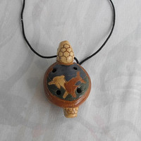 Huge Mexican Turtle Whistle Pendant Necklace Handpainted Dolphins Vintage Jewelry