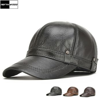 Trendy Winter Jacket [NORTHWOOD] New High Quality Genuine Leather Baseball Caps Ear flaps Snapback Hats Mens Winter Baseball Caps Hats bone masculino AT_92_12