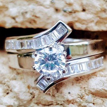 .925 Sterling Silver Ladies Wedding Ring Set CZ Engagement Ring and Band Solitaire size 5-9