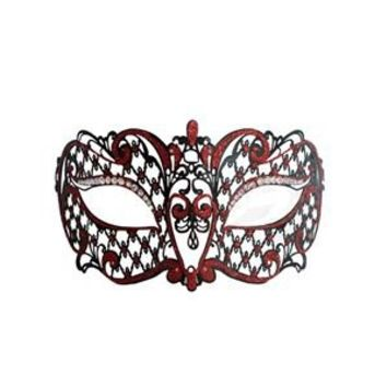 Metal Venetian Black With Red Half Mask