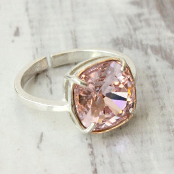Pink ring, Swarovski Rosaline ring, sterling silver, adjustable ring size 4-9, 10 mm cushion cut Swarovski crystal, silver ring