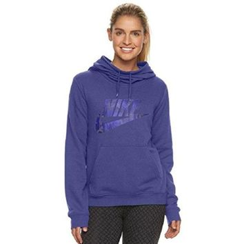 CREY3DS NIKE Women's Sportswear Funnel Neck Hoodie, Dark Purple Dust