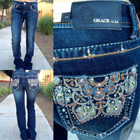 GRACE IN L.A. LOTUS BOOTCUT JEANS
