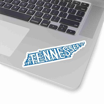 Tennessee State Shape Sticker Decal - Blue