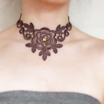 large brown lace choker necklace bib beaded veniseVictorian lace earrings vintage fabric art deco women jewelry set gift steampunk