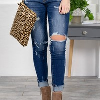 Frosted Distressed Dark Wash Skinny Jeans