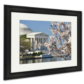 Framed Prints Spring In Washington Dc Cherry Blossom Festival At Jefferson Memorial Wall Art Decor Giclee Photo Print In Black Wood Frame, Soft White Matte, Ready to hang 16x20 art