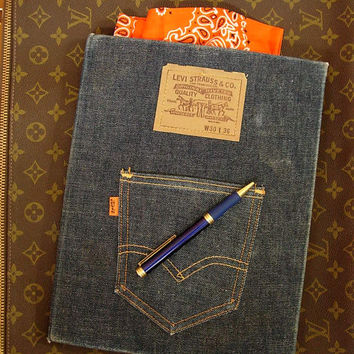 Ultra Rare 1960's-70's LEVI STRAUSS Denim Jean Pocket NOTEBOOK Portfolio Clipboard