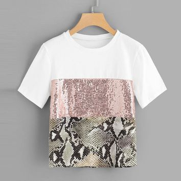 Feitong Fashion Womens Causal T Shirts Ladies Pacthwork Leopard Print Sequin Sleeve Tee Shirts Femme Casual Tops Camisas mujer