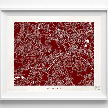 Dudley Map, England Print, Dudley Poster, England Art, Wedding Gift, Office Decor, Posters, Street Map, Home Decor, Halloween Decor