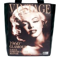 Marilyn Monroe Vintage Magazine Cover Large Tote Bag Purse Handbag