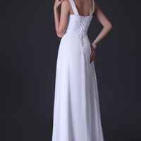 Solid Ruched Front Lace Up Back Long Evening Dress