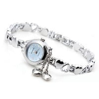 Round Quartz Watch with Double Hearts Pendant